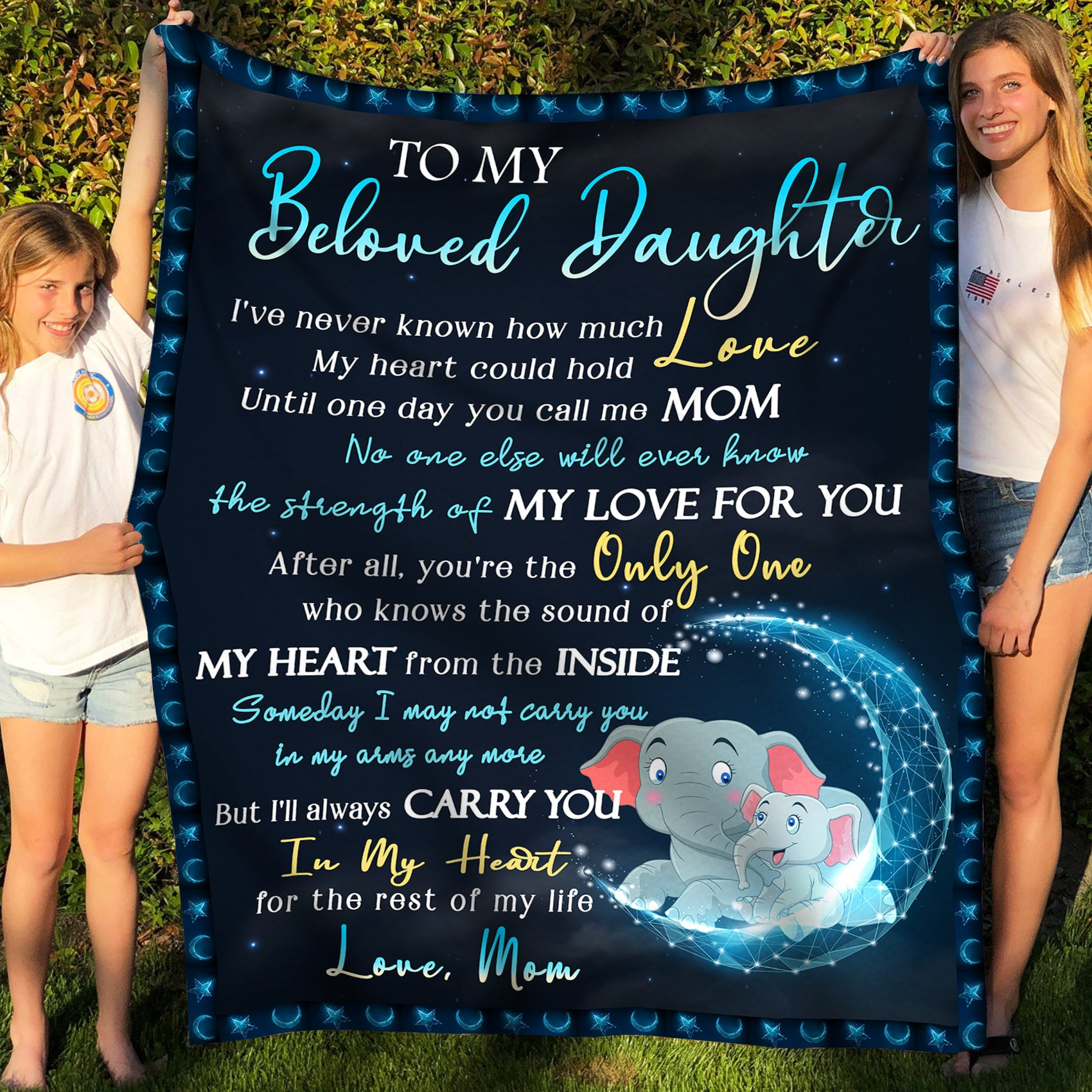 To My Daughter - Fleece Blanket - Carry You In My Heart - Gift for Daughter from Mother - Birthday Gifts, Blanket with Quotes - 1687