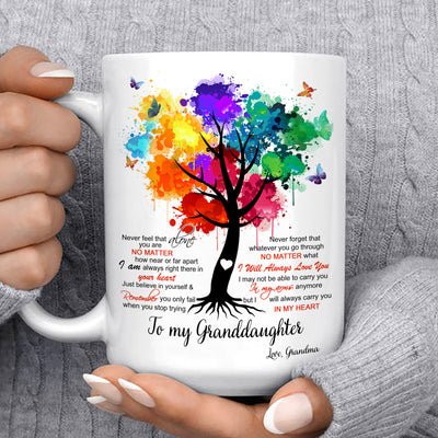 To my granddaughter coffee mug - I will always carry you in my heart - Gift for granddaughter - Birthday gifts - Mug with quotes - 766