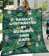 Fleece Blanket - Summer And Cats - Gift for Pet Owner, Gift for Pet Lover, Hawaii Blanket, Tropical Blanket - 5927