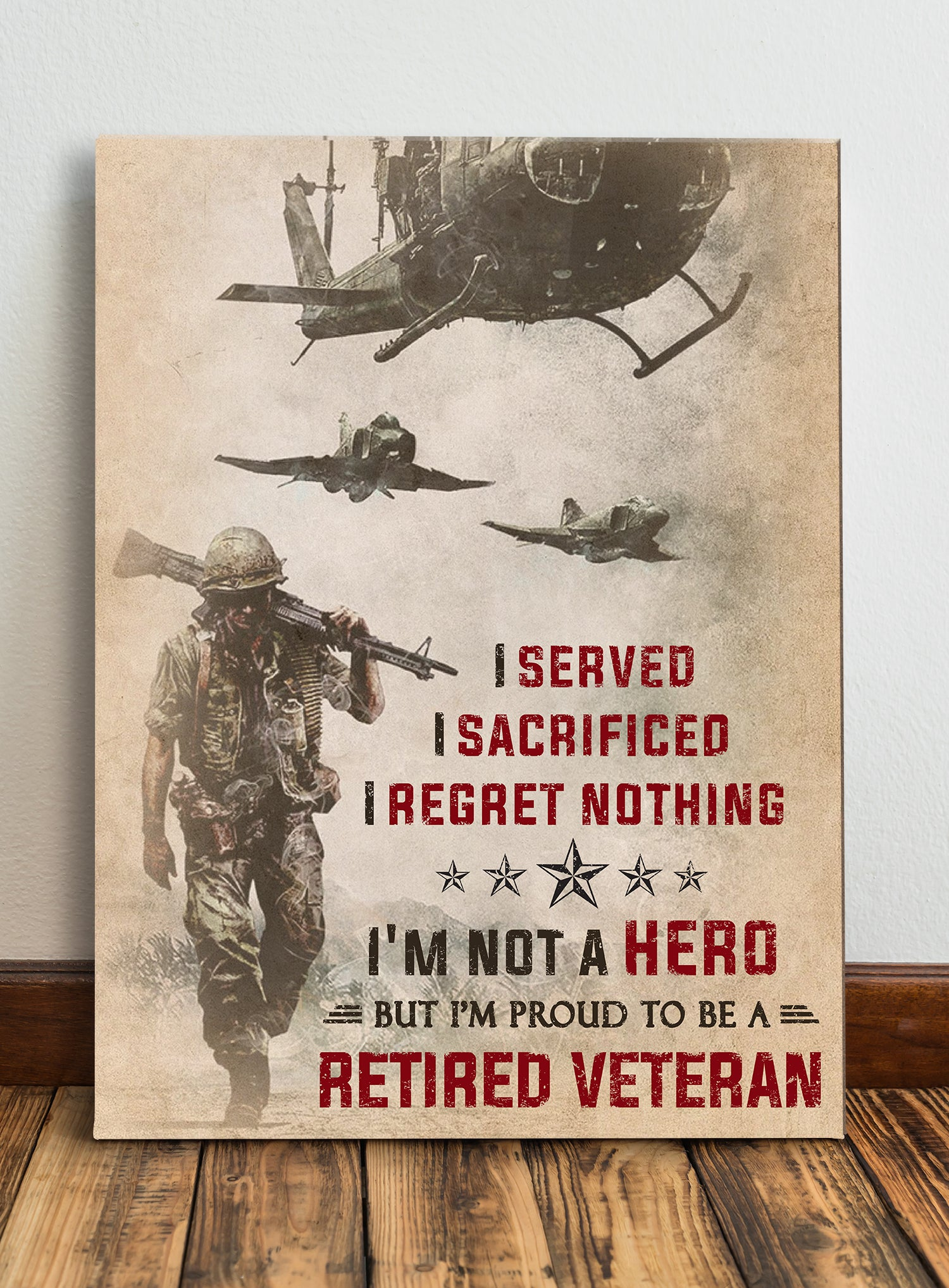Matte Canvas - Proud Retired Veteran - Wall Art Decoration - 8311
