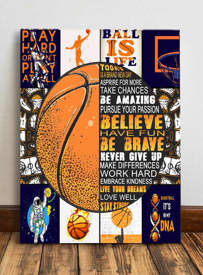 Matte Canvas - Basketball Canvas - Gift for Son - Motivational Canvas - Home Decor Wall Art - 4647