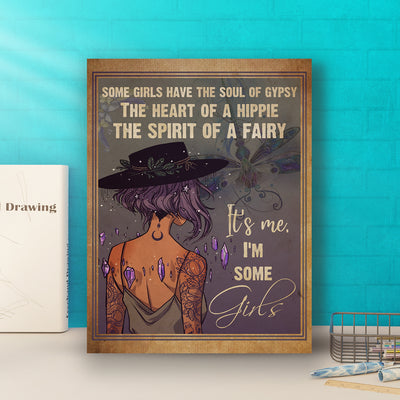 Matte Canvas - Soul Of Gypsy - Heart Of A Hippie - Spirit Of A Fairy - Hippie Girl Canvas - Home Decor, Wall Art- 2615