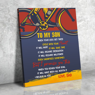 Son Dad - Cycle With Your Heart - Bicycle canvas, Gift from Dad to Son - Home decor Wall art - 8823