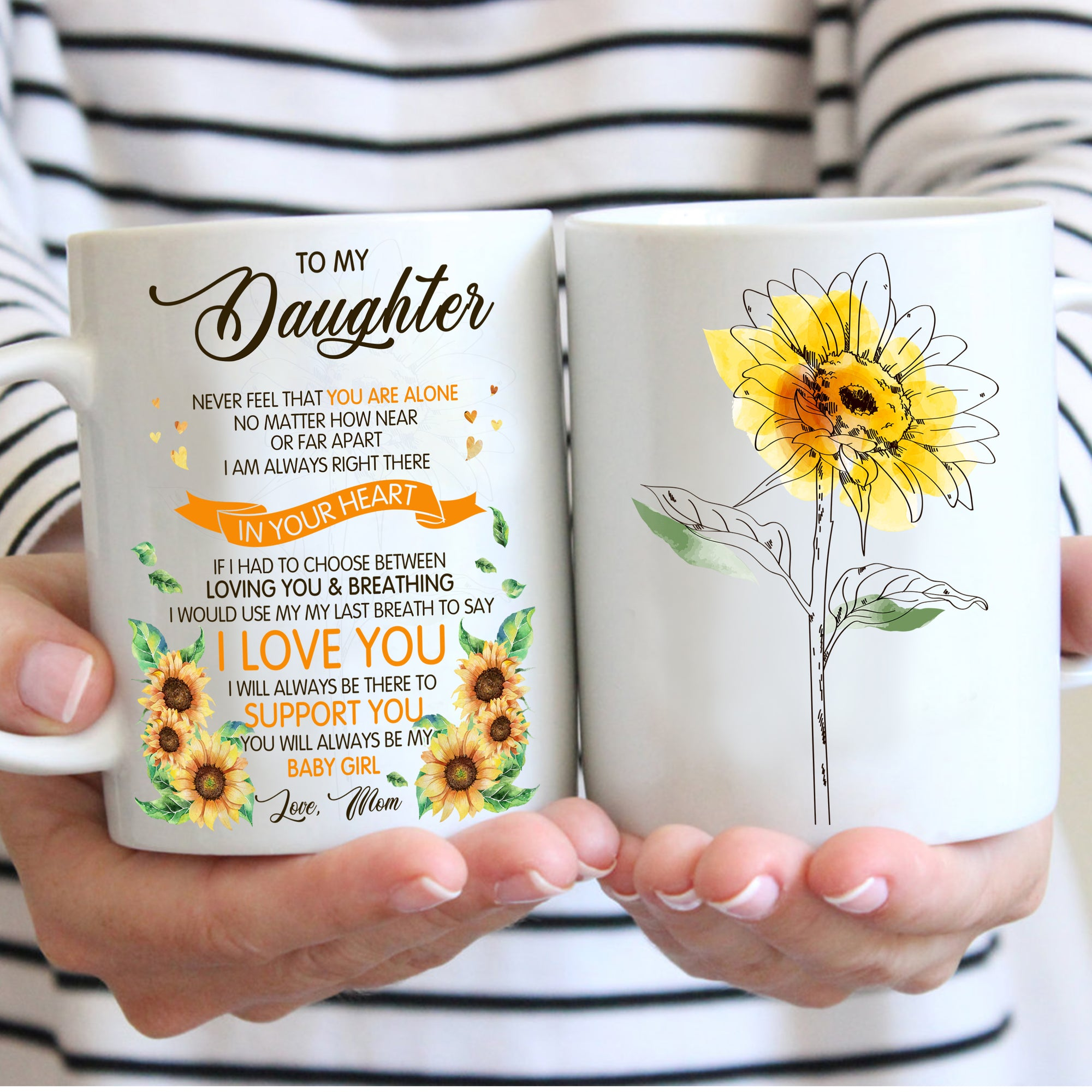 To my daughter coffee mug, sunflower mug - I am always right there in your heart - Gift for daughter from mother - Birthday Gifts - 534