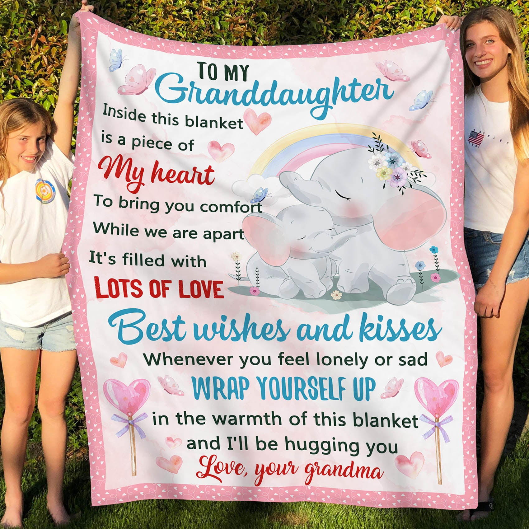 To my granddaughter fleece Blanket - I'll be hugging you - Gifts for Granddaughter from grandma - 4631