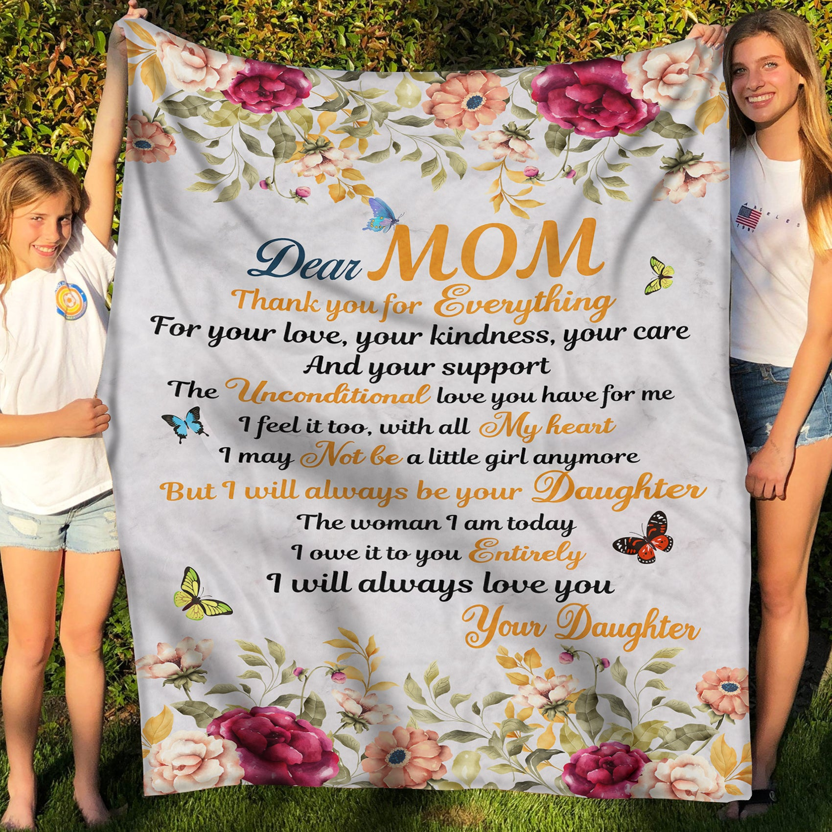 Fleece Blanket - Mother's Day Gift - Gift For Mom - Thank You For Everything - 9352