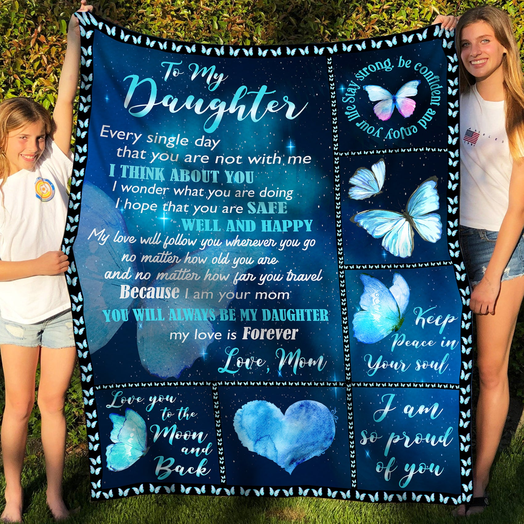 To My Daughter Fleece Blanket - I Think About You - Gift For Daughter From Mom, Birthday gifts, Blanket With Quotes - 4599