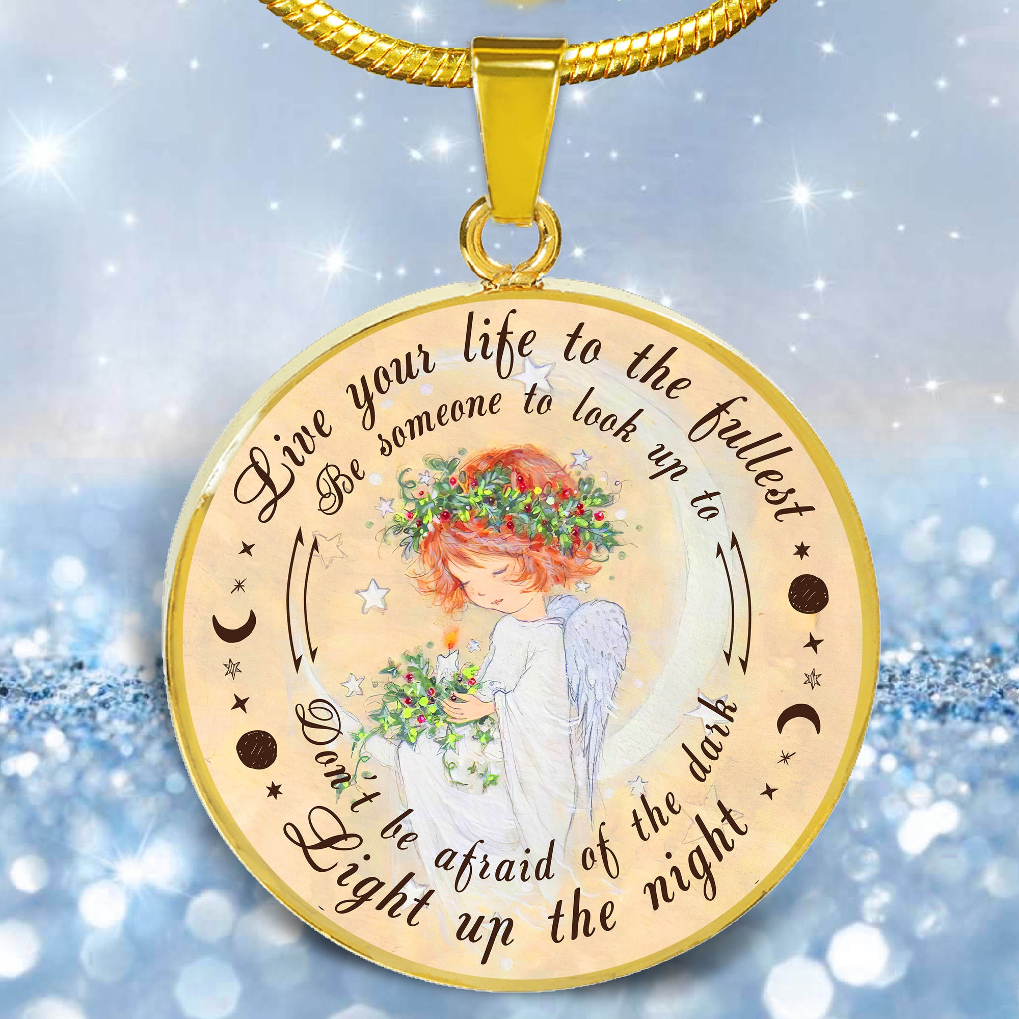Daughter mom - Light up the night - Circle pendant necklace - Sentimental gifts for daughter from mom