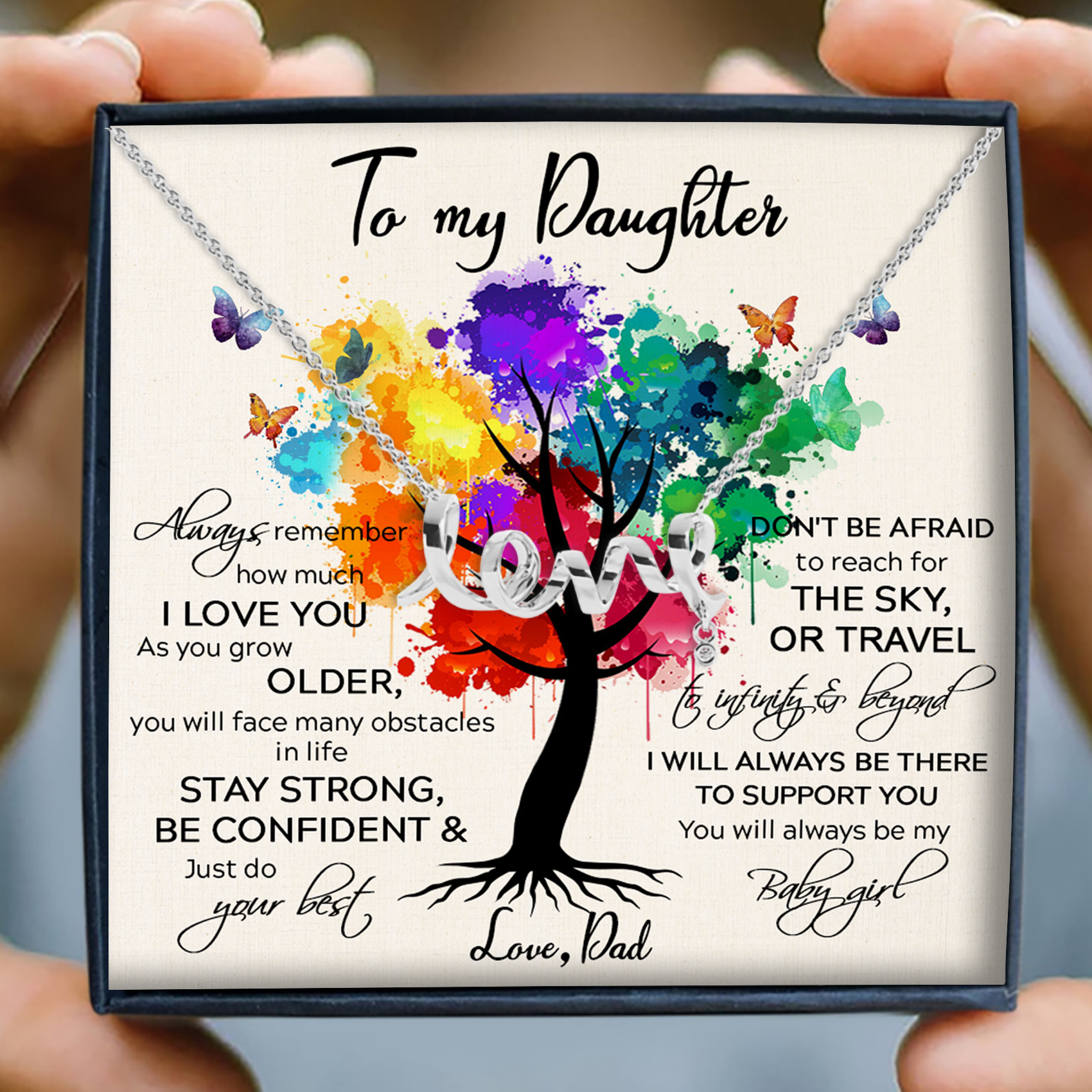 To my daughter necklace - To infinity and beyond necklace - Gift for daughter from dad - Scripted love necklace with message card - 2120