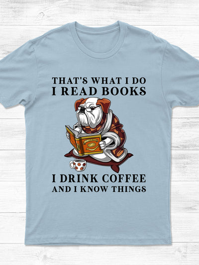 Standard T-shirt - Dog Reading Books Tshirt - Book lovers T-shirt, Dog Lovers Tshirt - Coffee Lovers Tshirt - 8423
