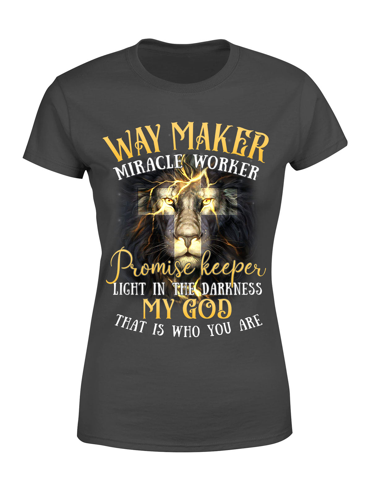Classic Ladies T-Shirt - Way Maker, Miracle Worker - Lion Version - Christian T-shirt