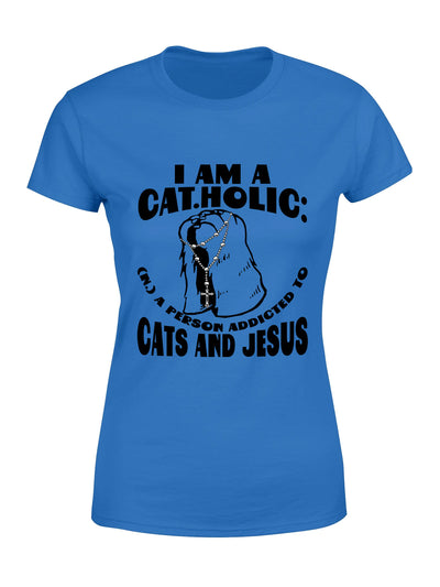 Woman T-shirt - Jesus and Cat Lovers - Catholic T-shirt - Christian T-shirt - 6791
