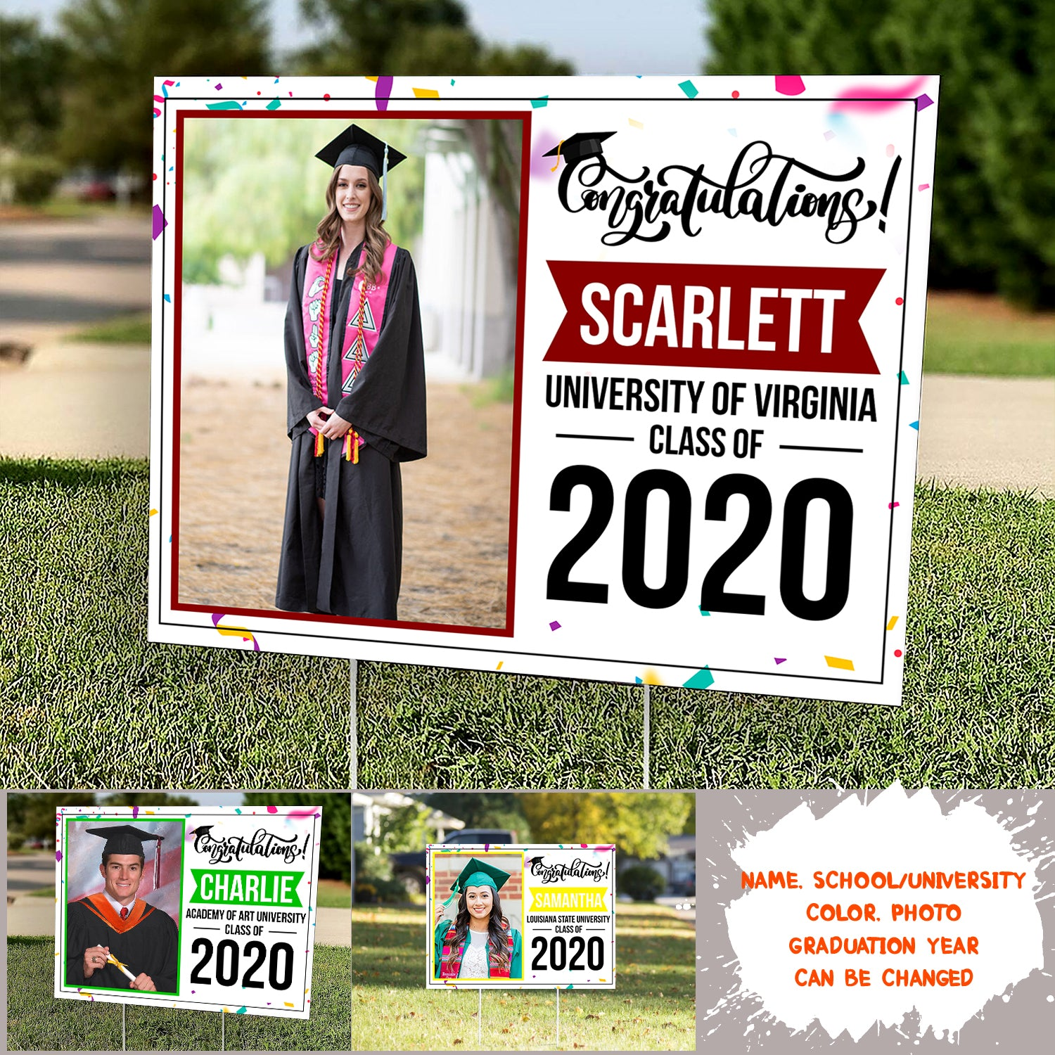 Congratulations - Graduation Gifts, 2020 Graduates, Personalized Custom Photo Yard Sign - 1944