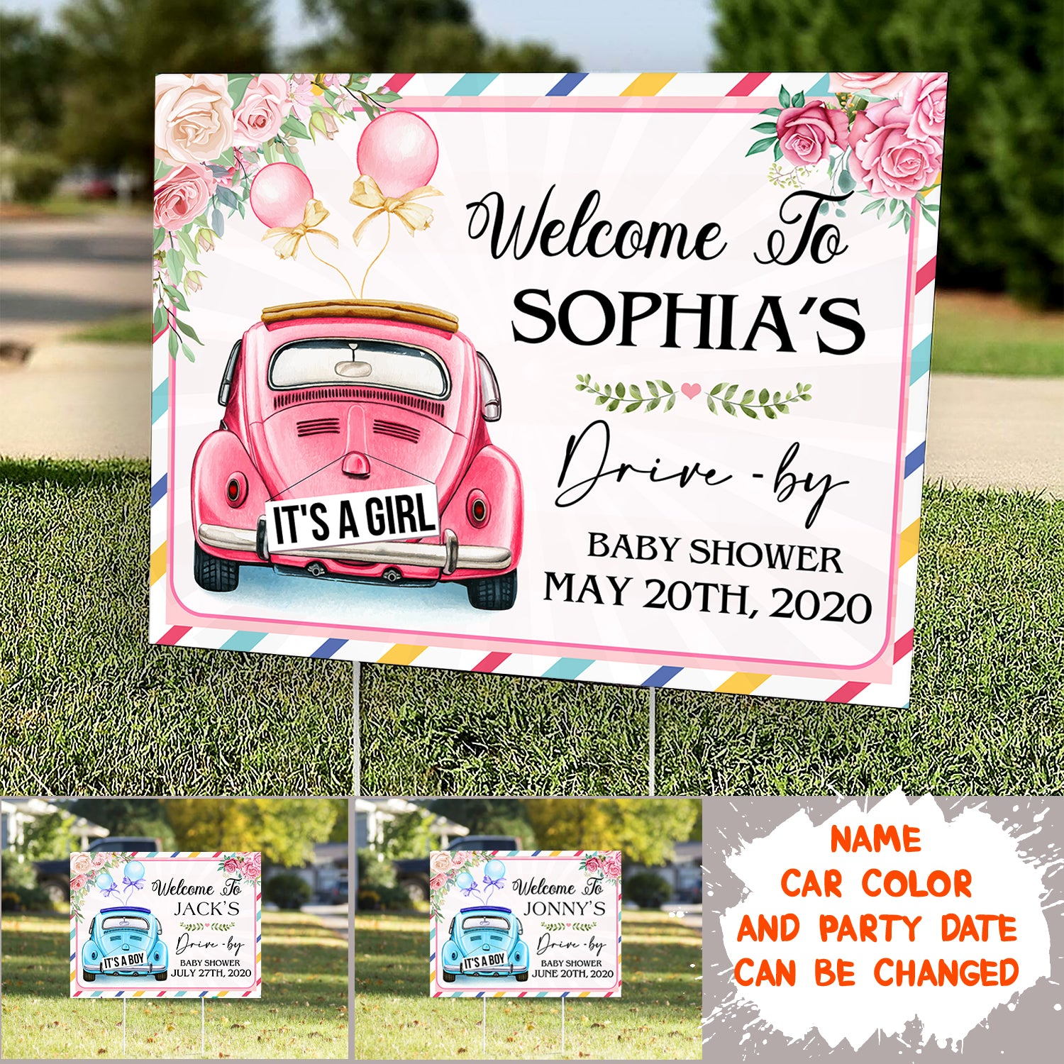 Personalized Custom Yard Sign - Welcome - Drive By Baby Shower Yard Sign - 7223