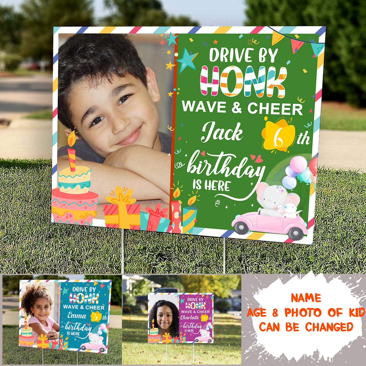 "Personalized Custom Yard Sign - Birthday Yard Sign - ""Drive By Honk Wave & Cheer"" Yard Sign, Personalized Birthday Gifts - 3319"