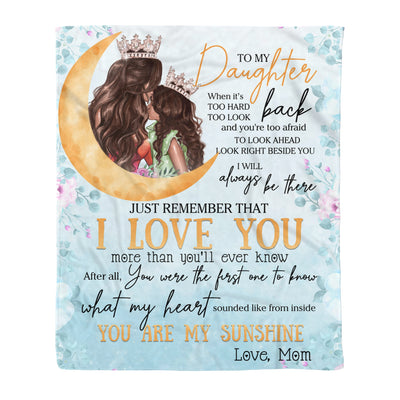 To my daughter fleece blanket - You are my sunshine blanket - Gift for daughter from mother - Birthday gifts, blanket with quotes - 340