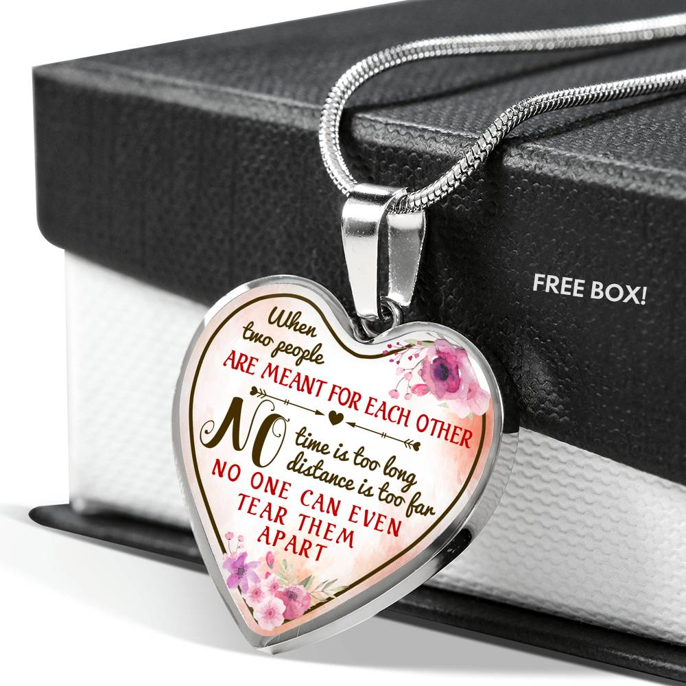 Pendant Heart Necklace - No distance is to far - Gifs For Daughter From Mom - 5799