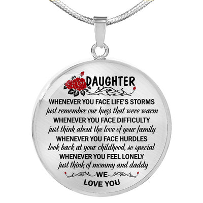 To my daughter necklace - We love you - Gift for daughter from mother/dad - Birthday gifts - Circle pendant necklace - 7640