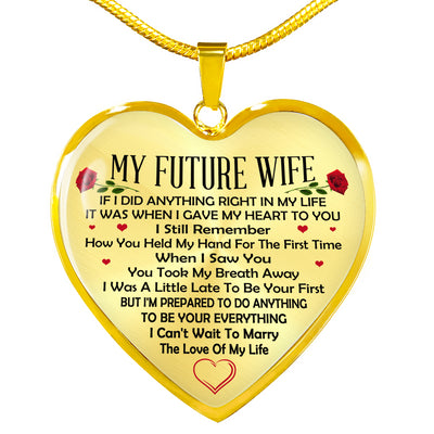 To my future wife necklace - You took my breath away - Gift for her, anniversary gifts - Heart pendant necklace - 5944