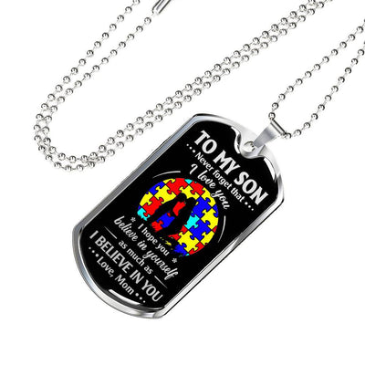 To my son necklace - Never forget that I love you - Gift for son from mother - Birthday gifts - Dog tag military chain - 2792