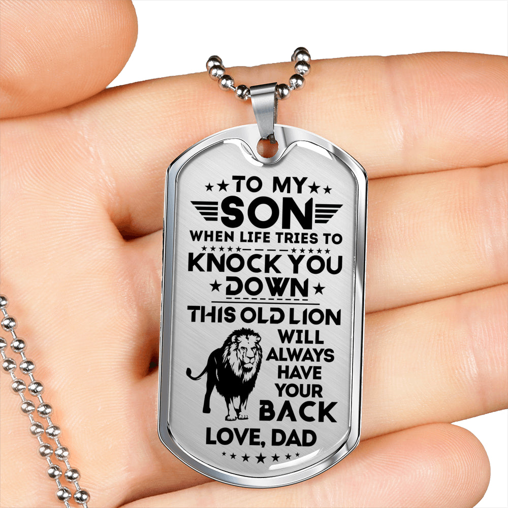 To my son necklace - This old lion will always have your back - Gift for son from dad, birthday gifts - Dog tag military chain - 8824