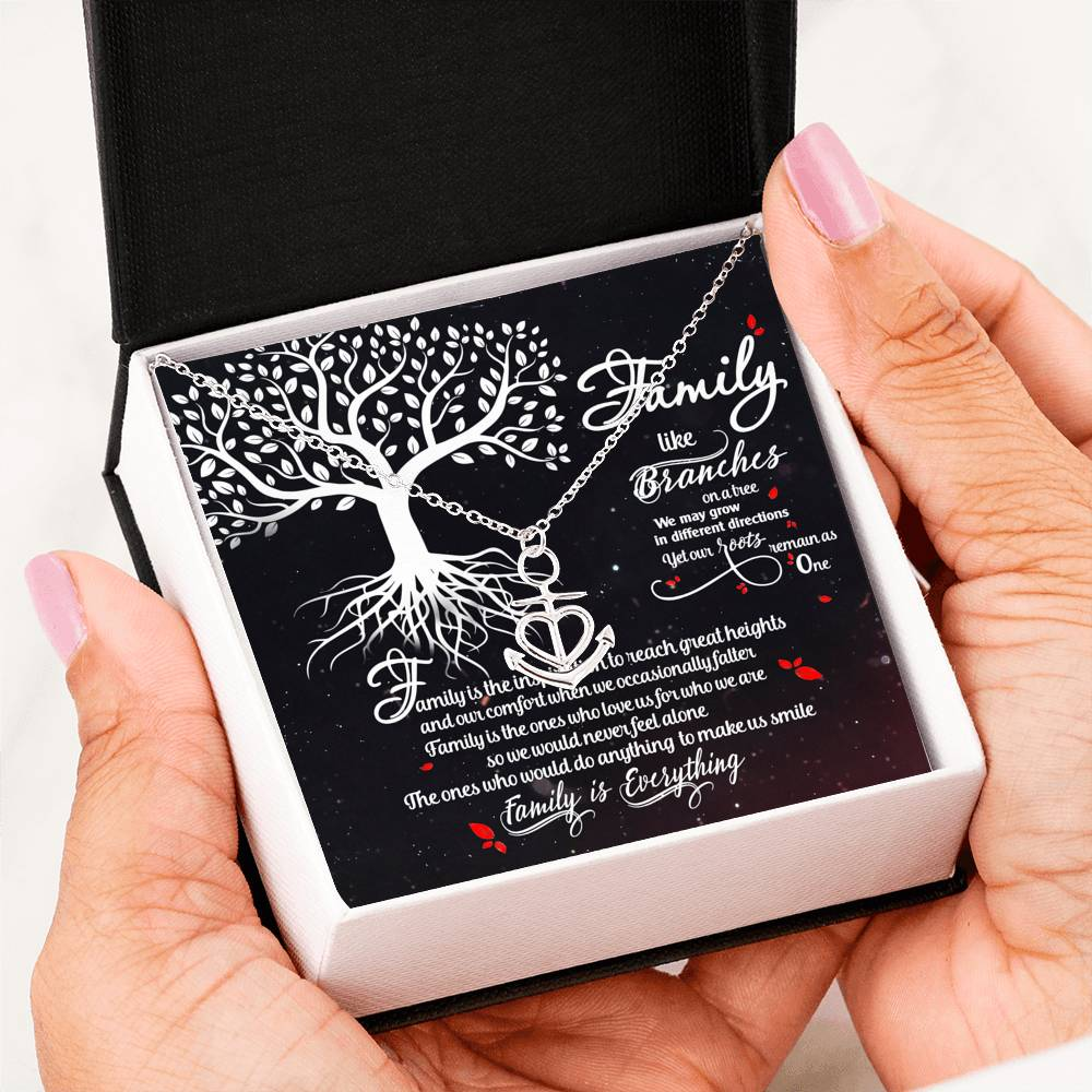 Family necklace - Family like branches on a tree - Gift for family members - Anchor love necklace with message card - 7224