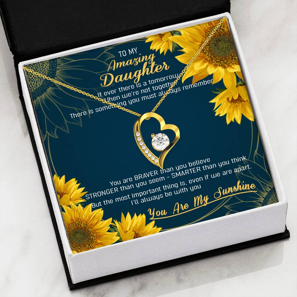 To my daughter necklace - You are my sunshine - Gift for daughter from mother/dad - Heart necklace with message card - 9064, 18k Yellow Gold