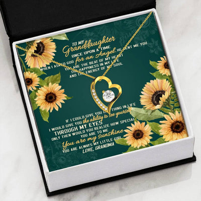 To my granddaughter necklace - You are my sunshine - Gift for granddaughter - Forever love heart necklace with message card - 4888, 18k Yellow Gold