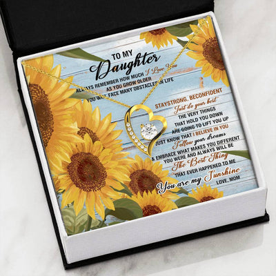 To my daughter necklace - You are my sunshine - Gift for daughter from mother - Heart necklace with message card - 8440, 18k Yellow Gold