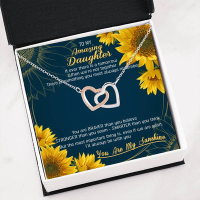To my daughter necklace - You are my sunshine - Gift for daughter - Interlocking heart necklace with message card - 18k Rose Gold - 2360