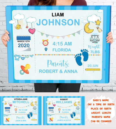 Personalized Custom Canvas - Newborn Baby Gift, New Baby Gift Personalized, New Baby Print,Birth Stats, Birth Details Print - 5592