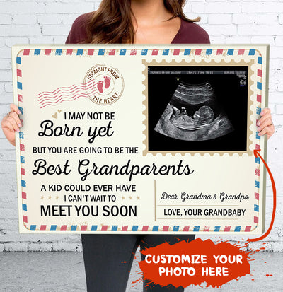 Personalized Custom Photo Canvas - Newborn Baby Announcement To Grandparents - Ultrasound Baby Photo Canvas - 2199