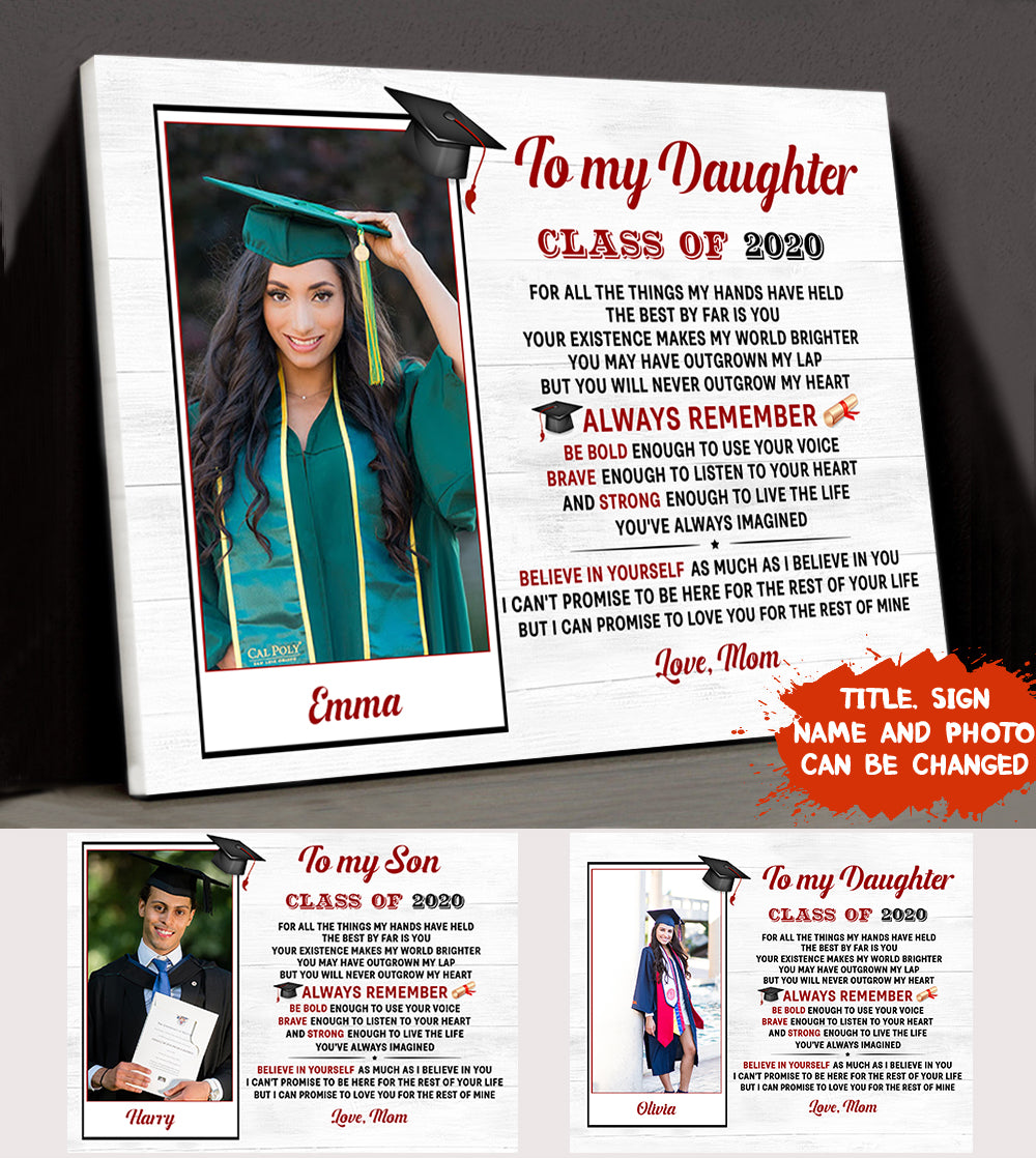 Personalized Custom Photo Canvas - Class Of 2020 - Graduation Photo Canvas, Graduation Gifts For Daughter, Son - 5720
