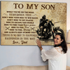 Matte Canvas - Son Dad - Happiness is the way - Motorbike canvas, Gift from Dad to Son - Home decor Wall art - 0407