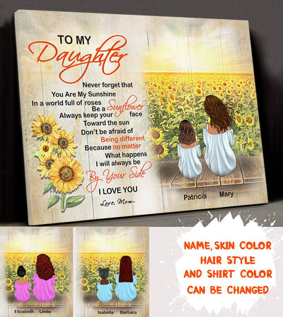 Personalized Custom Canvas - Be A Sunflower - Gift For Daughter From Mother, Sunflower Canvas, Wall Art With Quotes, Birthday Gifts - 7896