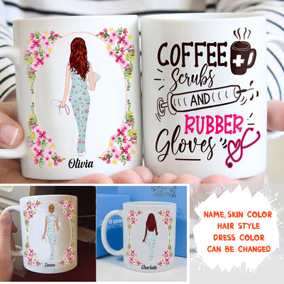 Personalized Custom Coffee Mug – Coffee Scrubs And Rubber Gloves – Gift For Nurse, Nurse Mug, Mug With Quotes, Birthday Gifts - 7560