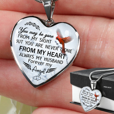 Pendant Heart Necklace - Always my husband, forever my angel - Memorial Necklace - 9719