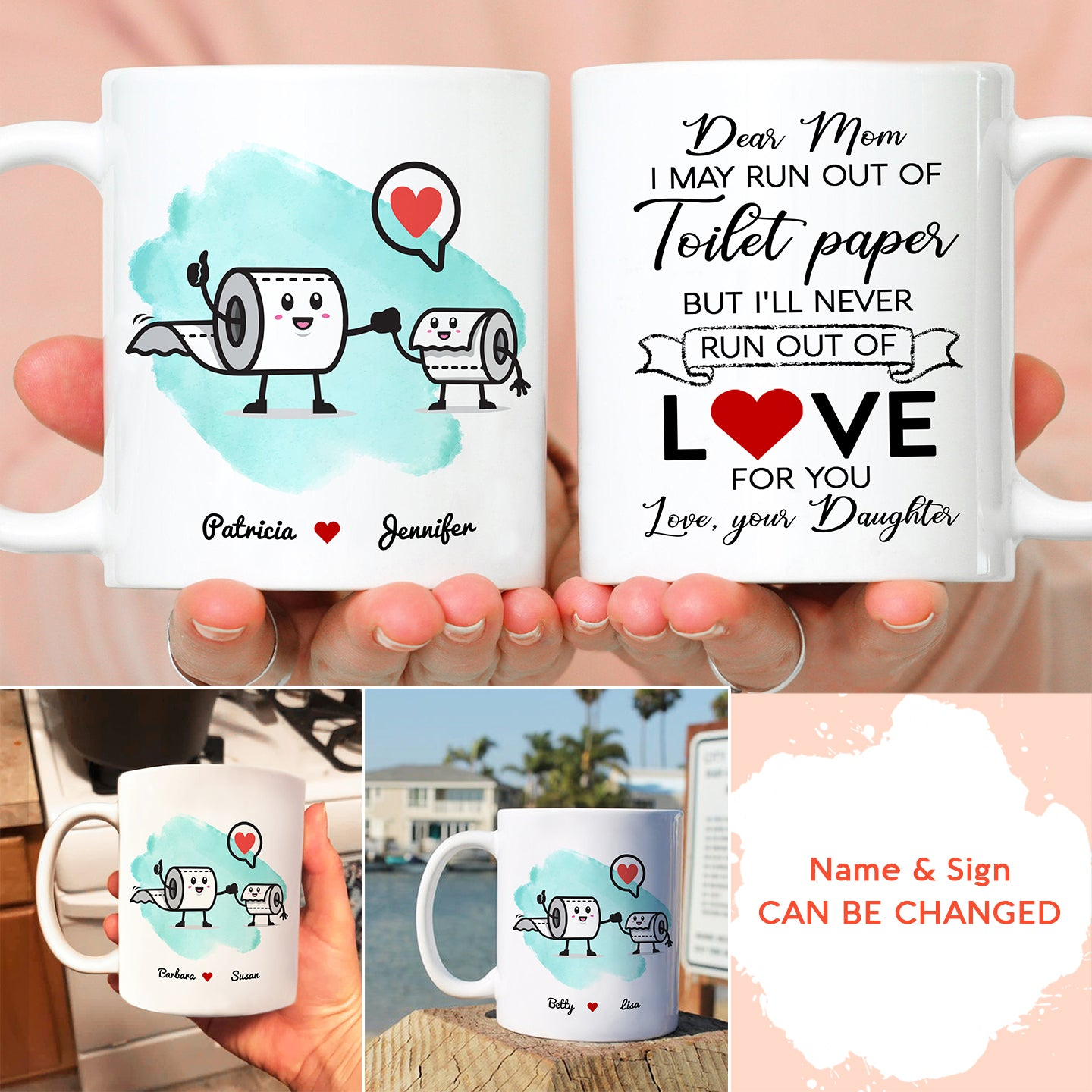 Personalized Custom Coffee Mug - TP Love - Gift For Mother, Toilet Paper Mug, Mug With Quotes, Funny Quotes - 6840