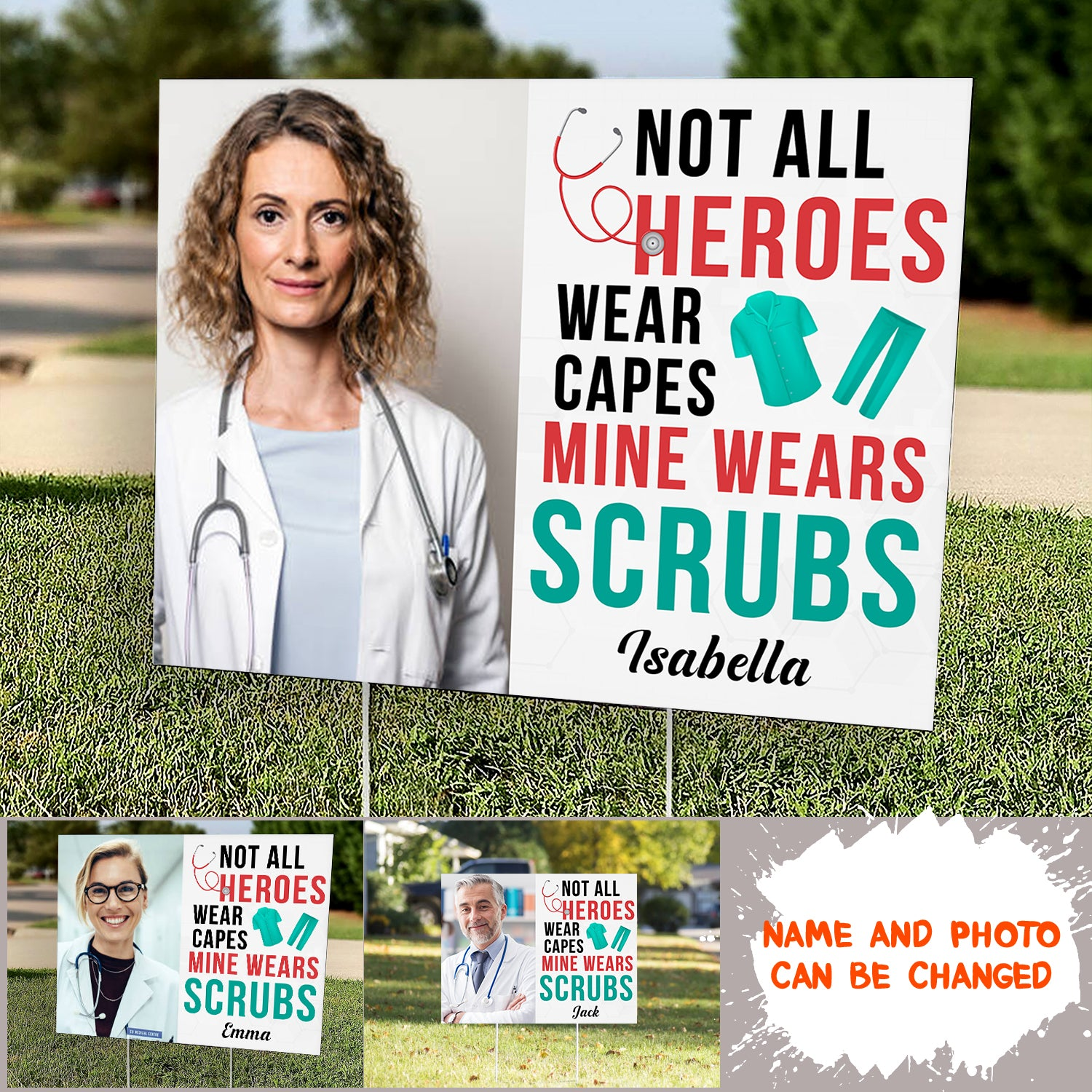 Personalized Custom Yard Sign - Mine Wears Scrubs - Gift For Nurse - 3528