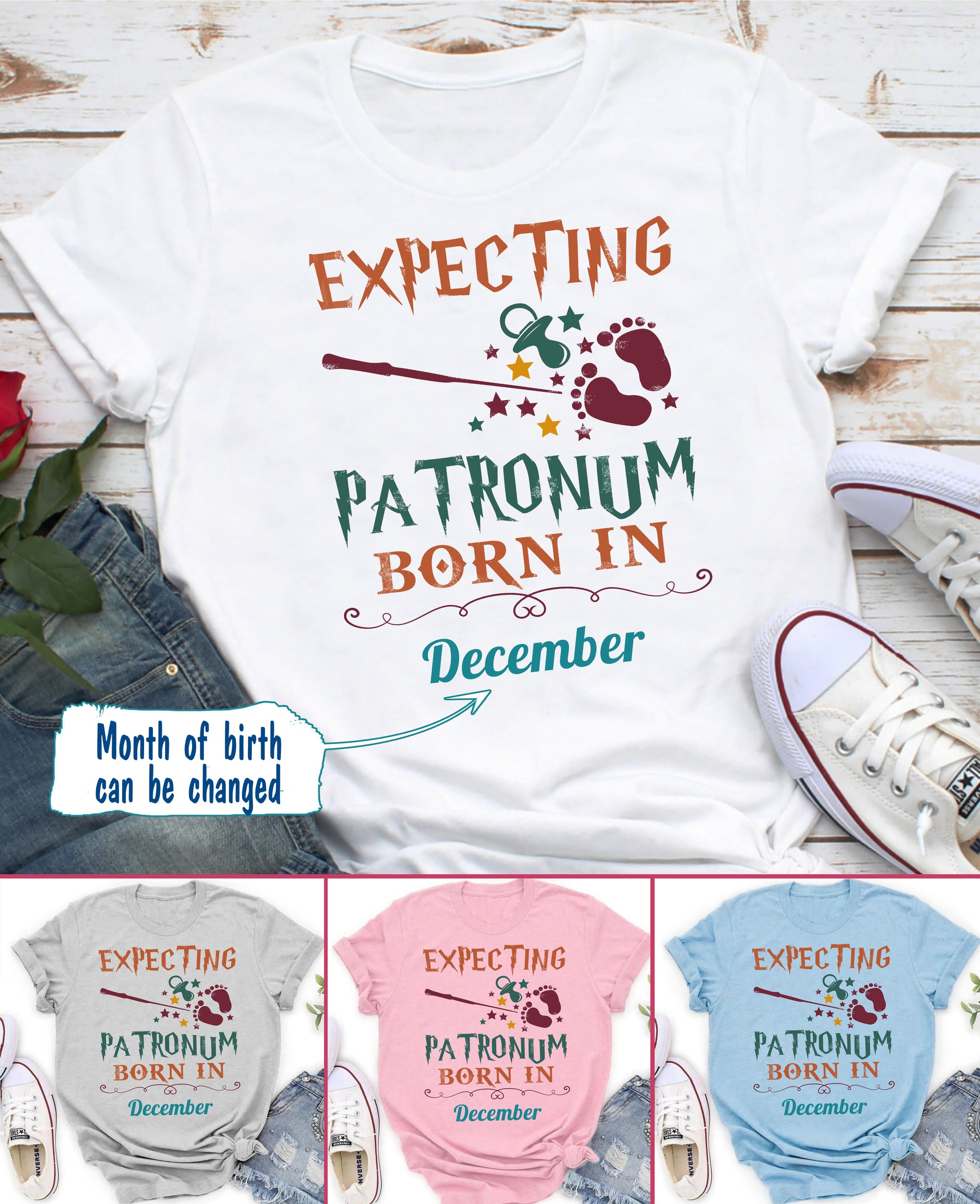 Persionalized Custom Classic T-shirt - Expecting Patronum T-shirt - Gift for mom to be - 4455