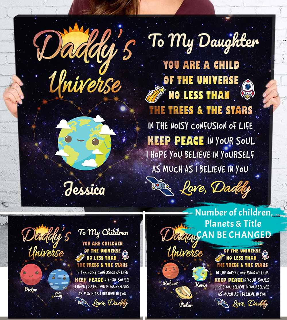 Personalized Custom Canvas - Daddy's Universe - Gift For Son or Gift For Daughter from Dad, Daddy Gift, Birthday Gift - 0199
