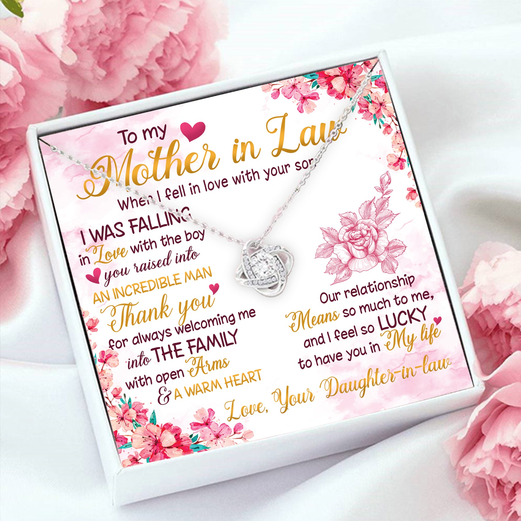 To Mother in law - Thank you for welcoming me - Love knot necklace - Sentimental Gifts For Mother-in-law