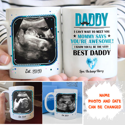 Personalized Custom Coffee Mug - The Bump, Gifts For Future Dad - Ultrasound baby photo mug - 7223