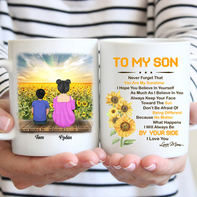 Personalized Custom Coffee Mug, Sunflower Mug - Be A Sunflower, You Are My Sunshine - Gift For Son From Mom, Birthday Gifts, Sunflower Mug - 9080