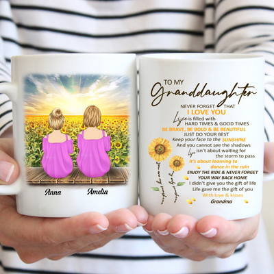 Personalized Custom Coffee Mug – Never Forget How Much I love You - Gift For GrandDaughter From Grandma, Sunflower Mug, Birthday Gifts - 2456