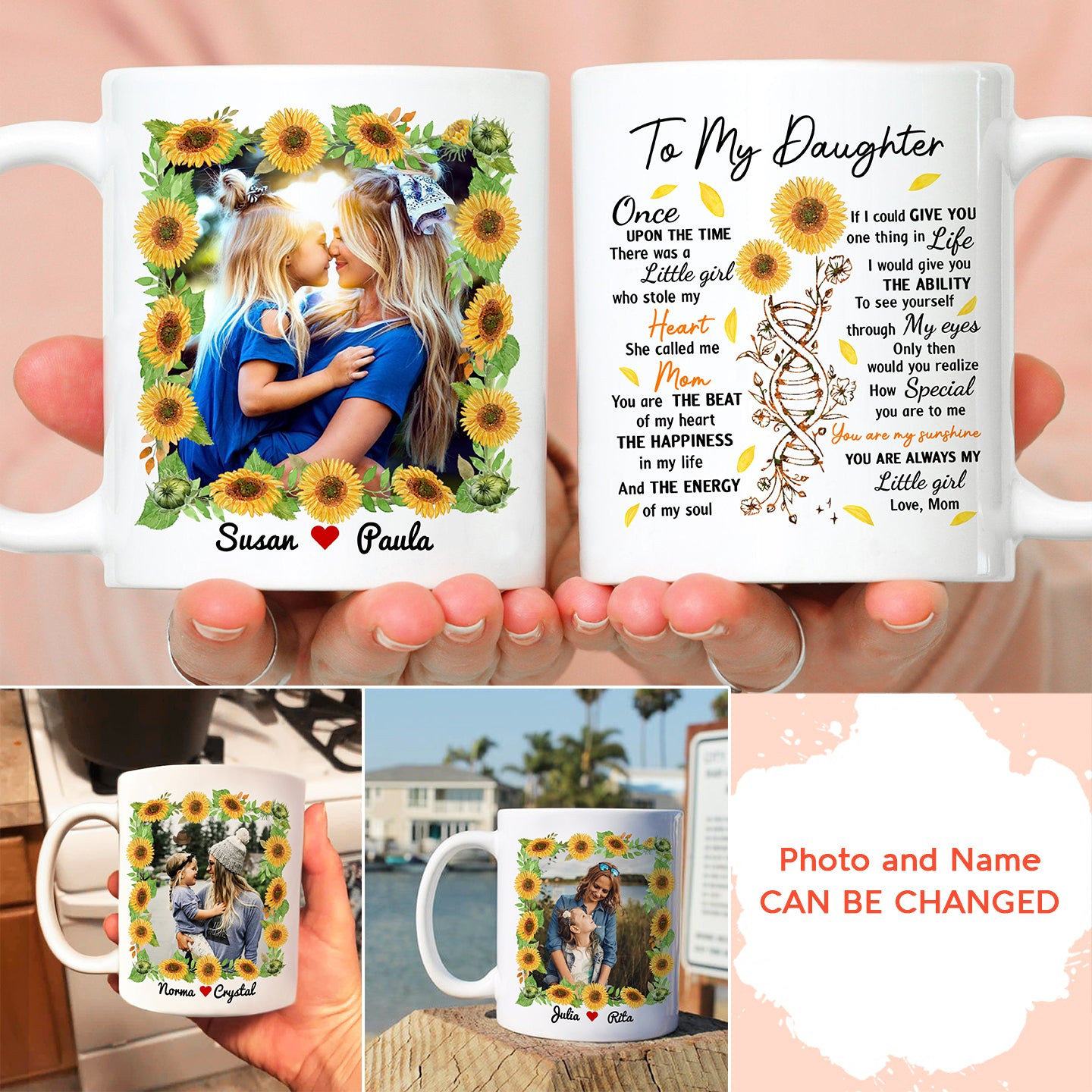 Personalized Custom Coffee Mug – Once Upon A Time There Was A Little Girl – Gift For Daughter, Customize Photo, Sunflowers Mug, Birthday Gifts - 8840