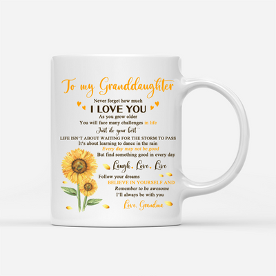 Personalized Custom Coffee Mug – Never Forget How Much I love You - Gift For GrandDaughter From Grandma, Sunflower Mug, Birthday Gifts - 1624