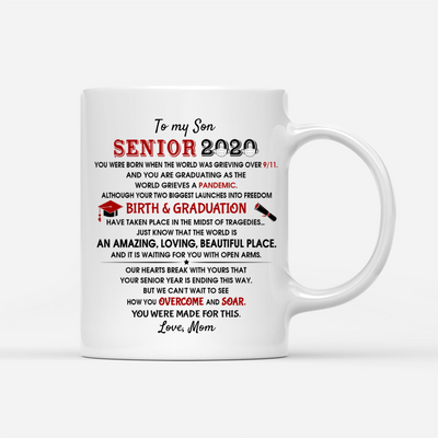 Personalized Custom Coffee Mug - Overcome And Soar - Boy Version - Gift For High School Graduate, Senior 2020 Gifts, Class of 2020 Gifts
