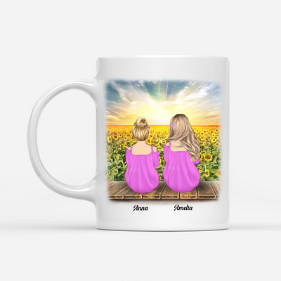 Personalized Custom Coffee Mug – Never Forget How Much I love You - Gift For Daughter From Mom, Sunflower Mug, Birthday Gifts - 3144