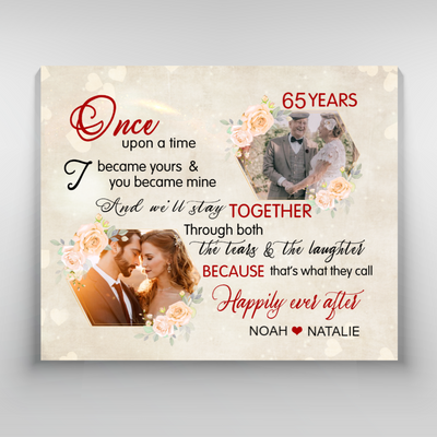 Personalized custom canvas - Wedding Anniversary - Happily ever after - Wall Art canvas - 7176